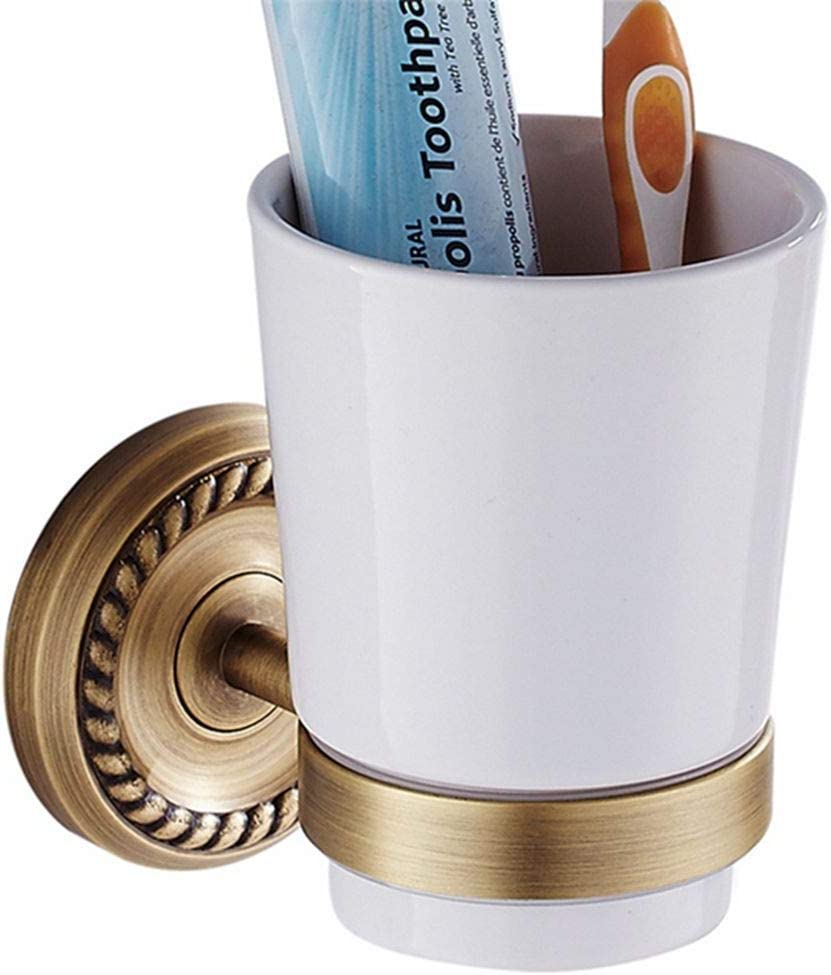LUDSUY Very popular Brass Antique Tumbler Holders Cup Max 46% OFF Ceramic with Wall Mount
