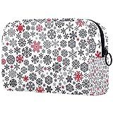 Bolsa de maquillaje, bolsa de cosméticos portátil, bolsa de tolietry de viaje, bolsa de maquillaje grande para mujeres niñas Navidad rojo a copos de nieve negro