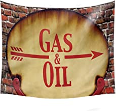 YOLIYANA Man Cave Decor Decorative Tapestry,A Rusty Old Retro Arrow Sign with Text Gas and Oil Fuel Station for Basement,80''W x 60''H