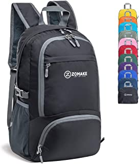ZOMAKE 30L Lightweight Packable Backpack Water Resistant Hiking Daypack,Small Travel Backpack Foldable Camping Outdoor Bag Black