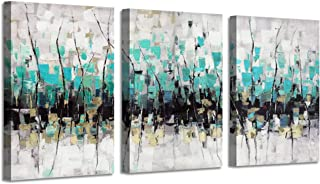 """Abstract Artwork Landscape Wall Art: Trees Painting Print on Canvas for Decor(16"""" x 12"""" x3 Panels"""