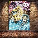Aishangjia Anime japonés Sword Art Online Lienzo Pintura Carteles e Impresiones Imagen Dibujos Animados para niños Arte de la habitación Decoración del hogar 50x70 cm N-973