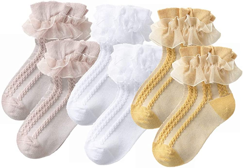 YUEN Little Girls Cotton Lace Socks,Ruffle Frilly Princess Style Ankle Socks for Girls Toddler Infant Baby