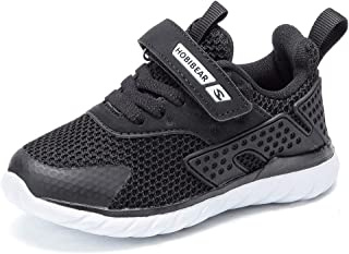 HOBIBEAR Kids Running Shoes Outdoor Sneakers Athletic Shoes Fashion Shoes Toddler Boys Girls(Black-b 1.5)