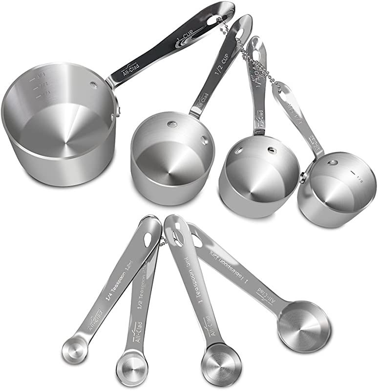 All Clad Stainless Steel 8 Pc Standard Size Measuring Cup Spoon Combo Set