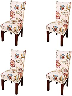 SoulFeel Set of 4 x Stretchable Dining Chair Covers, Spandex Chair Seat Protector Slipcovers for Holiday Banquet, Home Party, Hotel, Wedding Ceremony (Style 34, Floral)