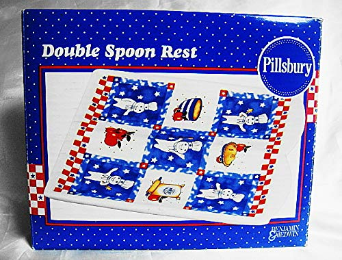 1999 Benjamin Medwin Pillsbury Doughboy ALL AMERICAN Ceramic Double Spoon Rest -New in Box