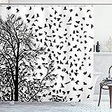 Cortina de ducha en blanco y negro Árbol de abedul Ramas Aves voladoras Vida natural Otoño Temática Estilo silueta Tela Tela Baño Decoración Set con ganchos Negro BlancoBianco e nero tenda della docci