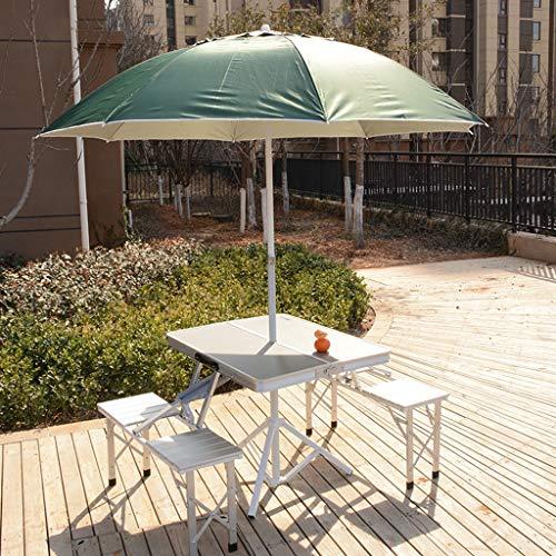 Mesa de picnic plegable de aleación aluminio con peine paraguas, mesa compacta for acampar al aire libre, juego de taburete for silla, bolsa de transporte, instalación gratuita, ideal for 4-8 personas