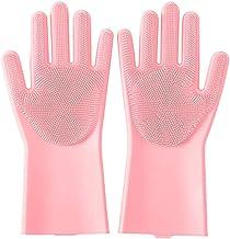 Afwassen handschoenen, multifunctionele Rubber Brush Schrobben handschoenen met borstelharen Silicone Cleaning Handschoene...