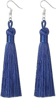 Charms Boho Silk Thread Long Tassel Dangle Drop Fringe Earrings Fabric Vintage Eardrop (Royal Blue)