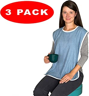 3 Pack - Terry Cloth Adult Bibs/Senior Meal Time Clothing Protector Hook and Loop Closure
