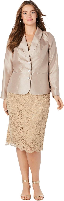 Roamans Women's Plus Size Two-Piece Lace Skirt Suit
