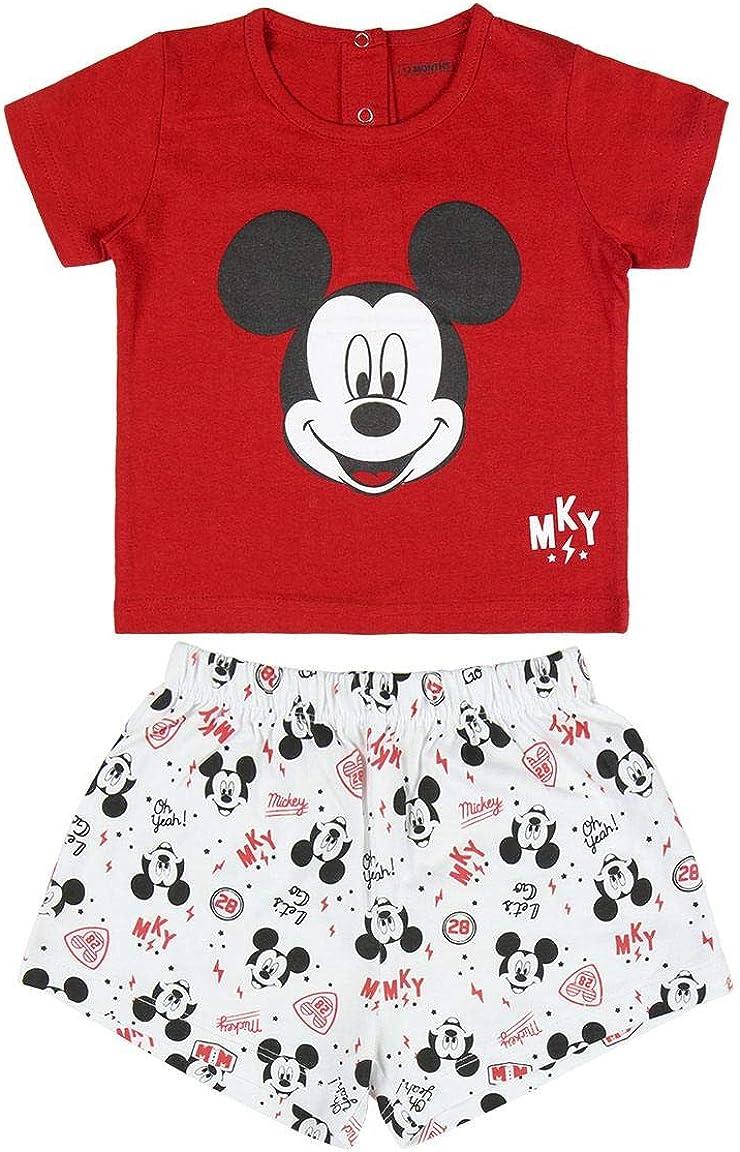 Disney Pijama de Mickey Mouse para bebé, súper suave, transpirable y acogedor, juego de pijama de bebé, divertido diseño de Mickey Mouse, camiseta y juego corto, regalo para bebé, 12 a 36 meses