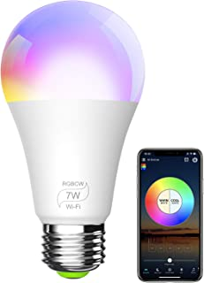 BERENNIS Smart Light Bulb, RGBCW Wi-Fi LED Bulb [7W 500LM] Dimmable Multicolored Lights, No Hub Required, Compatible with Alexa and Google Home