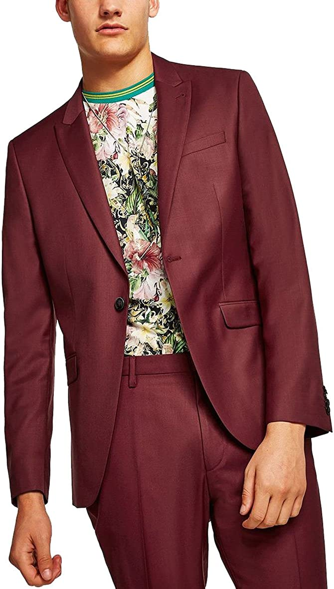 Newdeve 2 Pieces Burgundy Casual Suits Prom Sales of SALE items from new works Blazer New item Jacket Men's