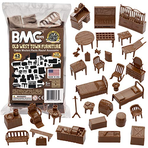 BMC Classic Marx Western Town Furniture 42pc Plastic Cowboy Playset Accessories