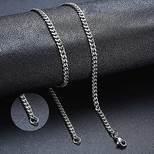 WQZYY&ASDCD Collar De Mujer Collar Unisex De Acero Inoxidable Estilo Cubano Cadena De Eslabones Vintage-5Mm_Silver_50Cm