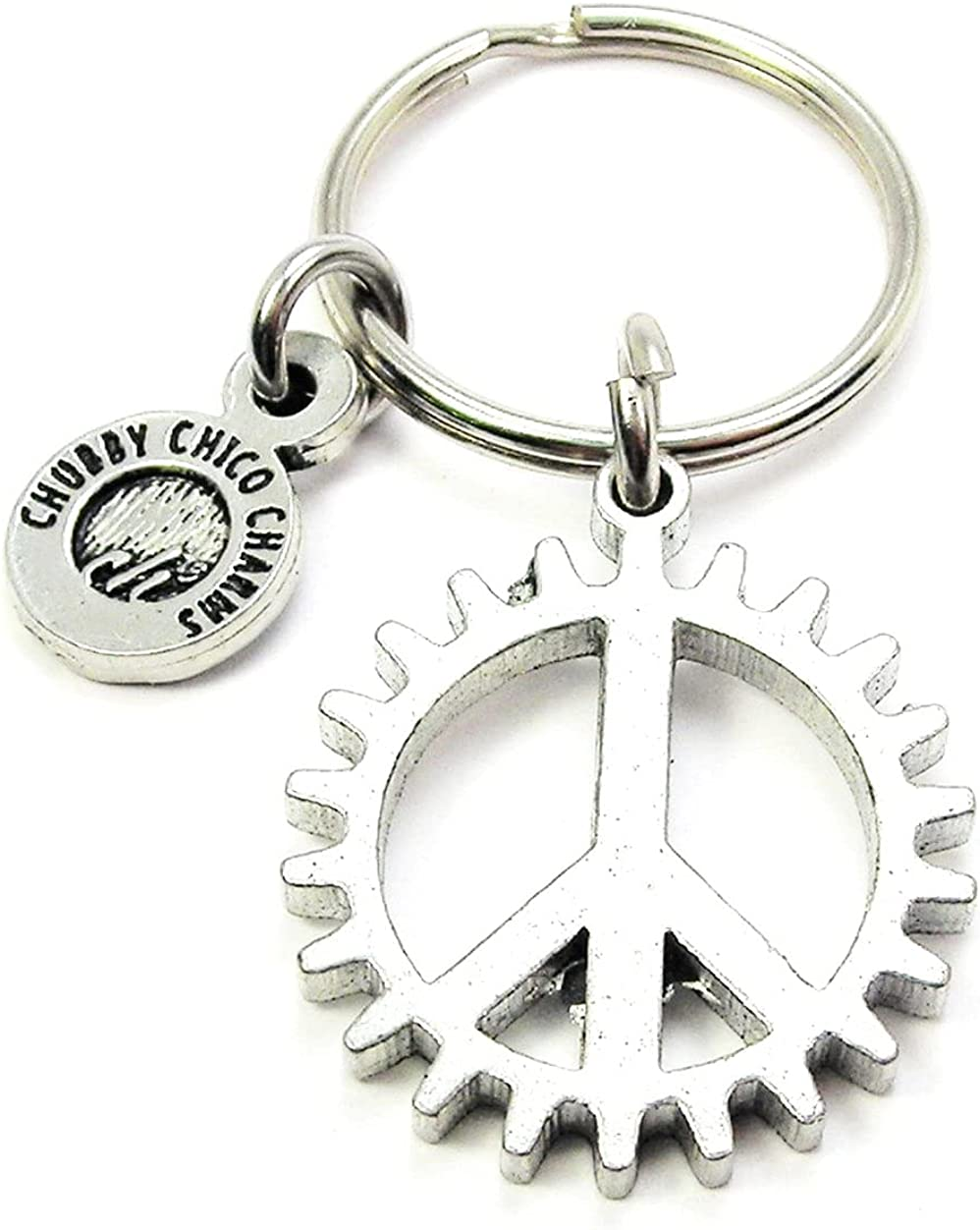 ChubbyChicoCharms Peace Sign in Gear Pewter Charm On Stainless Steel Keyring Key Ring Key Chain Keychain for Women, Men, Teens, Positivity Gift, Present for Inspiration