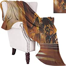 MKOK Fantasy Comfortable Large Blanket Sinister Dark Fiction Throne with Heraldic Emblem on The Background Gothic Art Microfiber Blanket Bed Sofa or Travel W80 x L60 Inch Orange Black