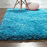 Super Area Rugs Ultra Fluffy & Soft Handmade Shag Rug for Home Decor Non Skid, Turquoise Blue, 3' x 5'