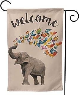 CZHEZEE مرحبا الفيل الفراشات حديقة العلم عمودي مزدوج الوجهين 12.5 × 18 بوصة مزرعة الصيف الخيش ساحة الديكور الخارجي