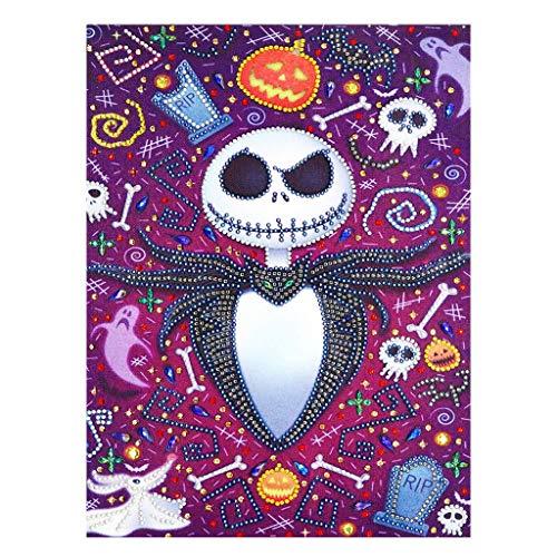 LQH Cráneo de Halloween 5D Diamante Especiales de la Pintura del Bordado...