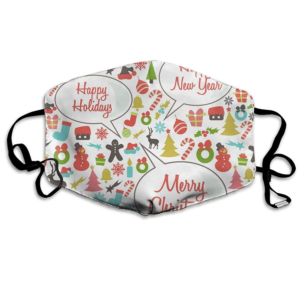 Retro-Happy-Holidays,Anti Dust Half Face Mouth Cover Respirator Dustproof Anti-Bacterial Washable Reusable,Comfy Germ Wind Protective Breath Windproof Mask