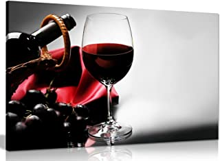 Red Wine Drink Grape Food Kitchen Canvas Wall Art Picture Print (30x20in)