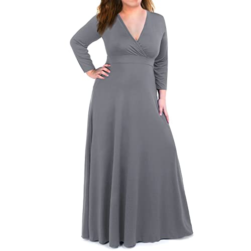 c8eb1e76791 Plus Size Maxi Dress for Women with 3/4 Sleeve Deep V Neck Solid Color