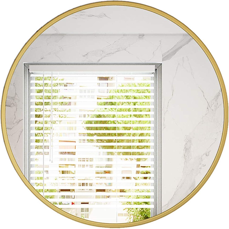 Modern Round Mirror Metal Frame Wall Hanging Bathroom Mirror, Vanity Mirror Decorative Mirror Fastening Durable - gold