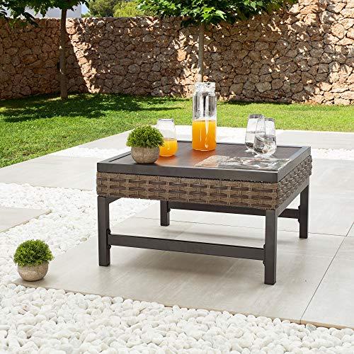 Lokatse Home - Mesa de metal para exteriores con extremo cuadrado, mesa de café, ratán de mimbre alrededor con patas de acero