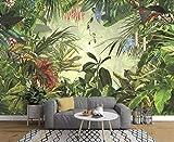 Papier Peint 3D Plant Animalier De PerroquetTigre Plantain De Forêt Tropicale Dessinés À La Main Vintage Peinture Amovible Sticker Mural Home Decor Art