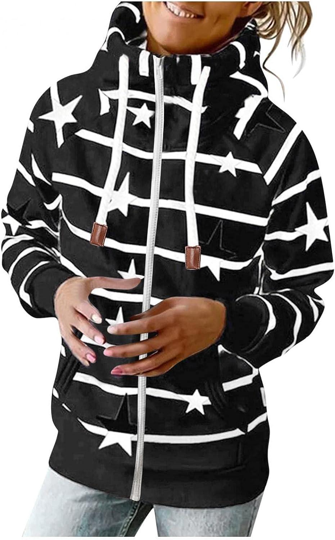 COMVALUE Hoodies for Women,Women Casual Zipper Printed Long Sleeve Lightweight Striped Pullover Sweatshirts