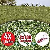 Bricolemar Seto Artificial Ocultación Jardín para Exterior, Ocultación 90% 36 Varillas Verde (4...