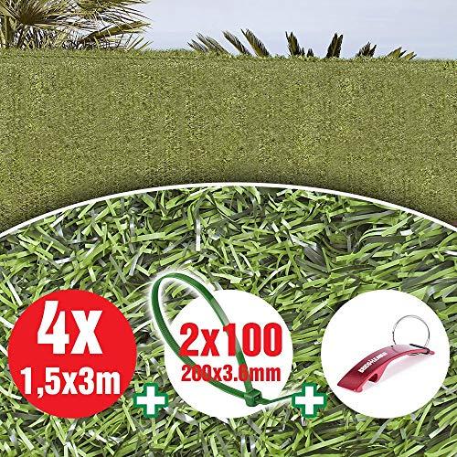 Bricolemar Seto Artificial Ocultación Jardín para Exterior, Ocultación 90% 36 Varillas Verde (4 Rollos 1.5mt (Alto) x 3mt (Ancho) Cada uno)