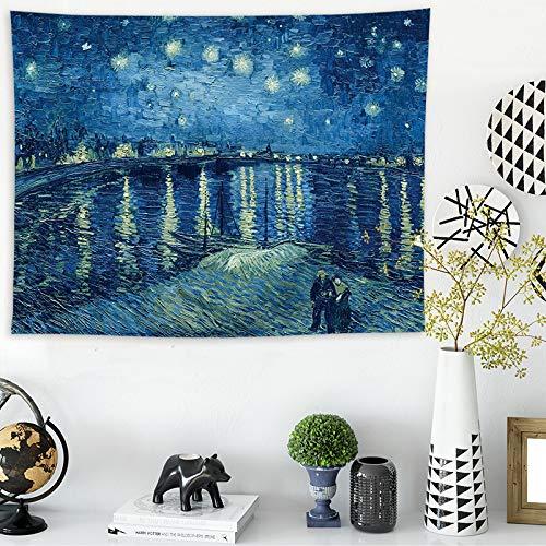 Dormitorio nórdico Pared Lona Fondo Tela Van Gogh Estrella decoració
