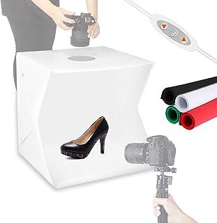 Meking 40,6 x 40,6 cm Tragbare LED Licht Fotobox 2,5 W 5500 K Beleuchtung mit 4 Kulissen für Produktfotografie, Tischfotografie