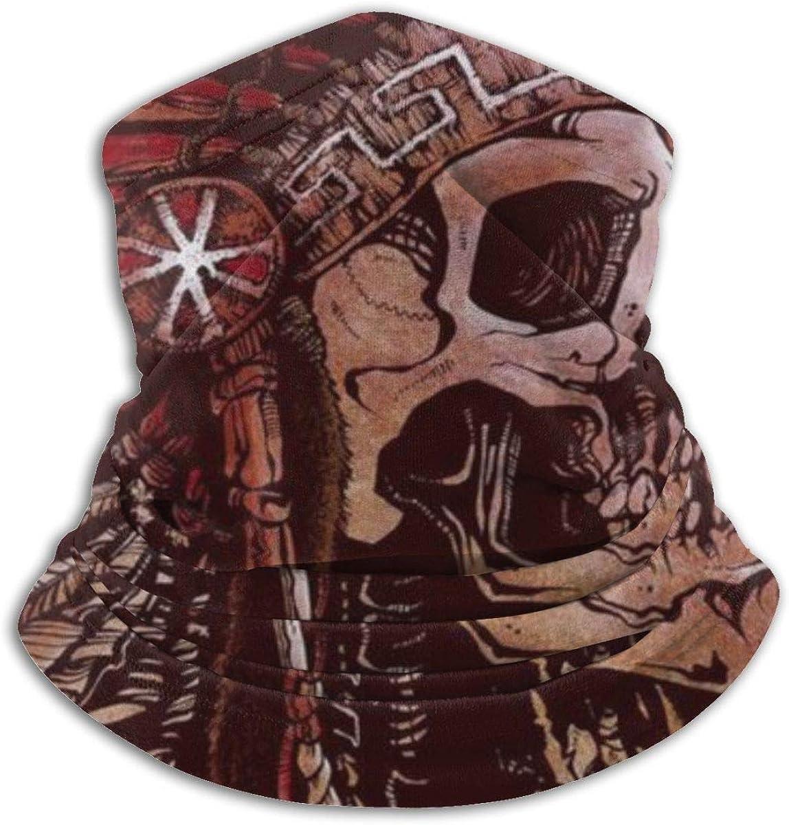 CLERO Scarf Fleece Neck Warmer Indian Native American Fea Special sale item [Alternative dealer] Skull