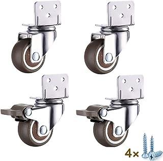 zwenkwielen met rem, L Vorm Moving Caster Wheels, 4 stks Kleine Castor Wheels, 360 ° Swivel Caster Wheels voor meubels, tr...