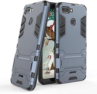 MaiJin Funda para Xiaomi Redmi 6 (5,45 Pulgadas) 2 en 1 Híbrida Rugged Armor Case Choque Absorción Protección Dual Layer Bumper Carcasa con Pata de Cabra (Azul Negro)