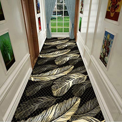 Läufer Teppiche Flur Küchenteppich Blumen- Design Teppich Waschbar Kurz Stapel Zum Eingangsbereich Küche Schlafzimmer, Schwarz Gold,1 * 2m
