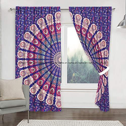 Sophia Art Cortinas de ventana con diseño de mandala de pavo real, estilo indio, para balcón, decoración de habitación, conjunto de cortinas bohemias