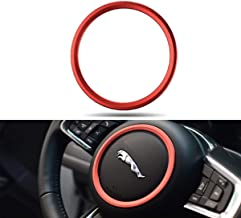 Jaguar XE XFL F-PACE F-Type/XF 2015-2018 Premium Aviation Aluminum Alloy Car Steering Wheel Decoration Ring Sticker Decals (Red)