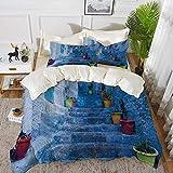 ropa de cama - Juego de funda nórdica, azul, calle con coloridas macetas en la ciudad de Chefchaouen en Marruecos Travel Village, Funda de edredón de microfibra hipoalergénica con 2 fundas de almohada