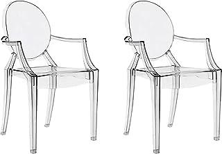 Chairs4you Lot De 2 Chaises Transparentes Inspirees Louis Ghost Salle A  Manger Cuisine Dressing Salon Bureau