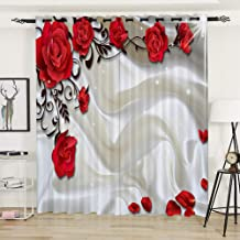 AiiHome Floral Curtains, Printed Blackout Curtain with Red Rose Flower and Milk HD Pattern, Grommet Curtains for Living Room Bedroom, 2 Panels, 52 X 96 Inch, Red