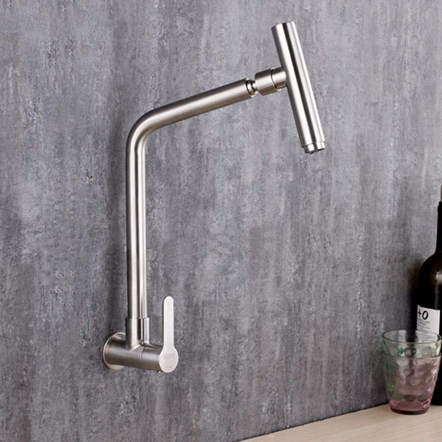 FZHLR 304 Stainless Steel Wall Mounted Kitchen Sink Mixer Single Cold Faucet Brushed Surface Single Cold Water Faucet Brushed