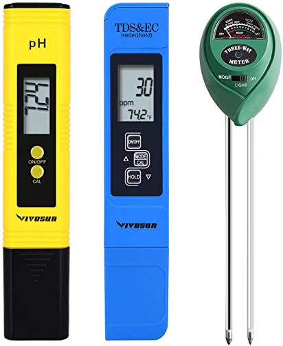 new arrival VIVOSUN outlet sale PH Meter, TDS and EC Meter, Soil Tester 2021 Combo online sale