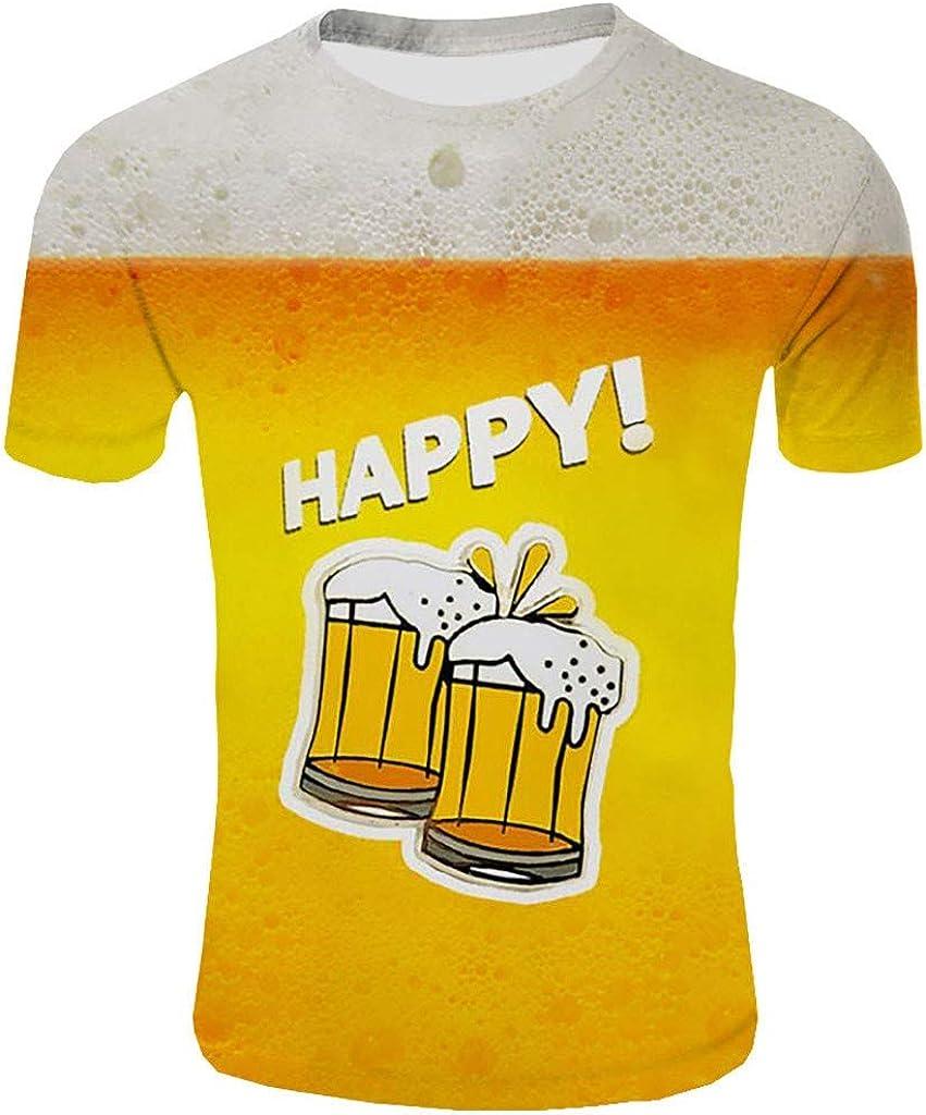 Holzkary Men's Beer Festival Fashion 3D Printed T-Shirt Casual Short Sleeve Tops